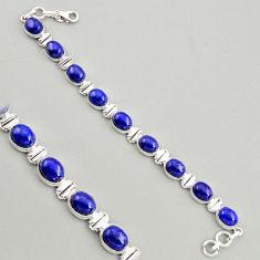37.86cts natural blue lapis lazuli 925 sterling silver tennis bracelet r4250