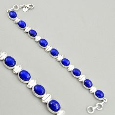 39.93cts natural blue lapis lazuli 925 sterling silver tennis bracelet r4255