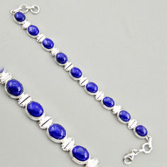 925 sterling silver 40.73cts natural blue lapis lazuli tennis bracelet r4260