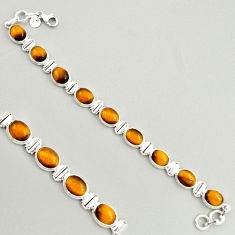 39.48cts natural brown tiger's eye 925 sterling silver tennis bracelet r4261