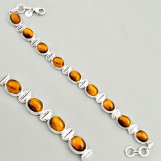 40.36cts natural brown tiger's eye 925 sterling silver tennis bracelet r4262