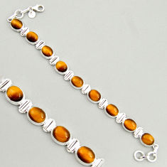 925 sterling silver 40.34cts natural brown tiger's eye tennis bracelet r4264