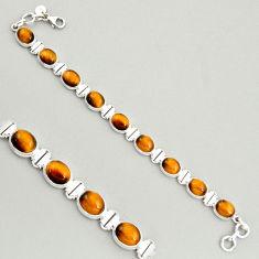 39.93cts natural brown tiger's eye 925 sterling silver tennis bracelet r4265