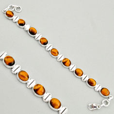 925 sterling silver 40.36cts natural brown tiger's eye tennis bracelet r4267