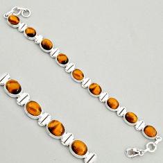 925 sterling silver 40.36cts natural brown tiger's eye tennis bracelet r4267