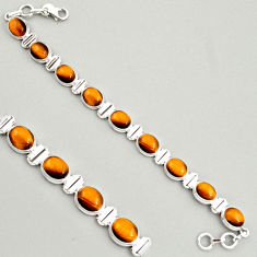 40.77cts natural brown tiger's eye 925 sterling silver tennis bracelet r4270