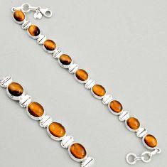 40.24cts natural brown tiger's eye 925 sterling silver tennis bracelet r4271