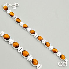 40.36cts natural brown tiger's eye 925 sterling silver tennis bracelet r4273