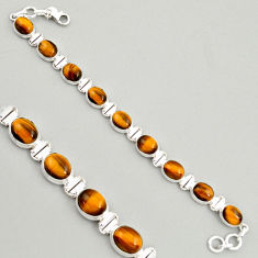 925 sterling silver 40.36cts natural brown tiger's eye tennis bracelet r4277