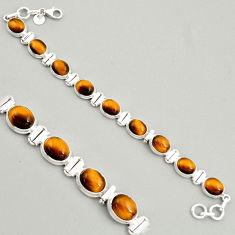 40.34cts natural brown tiger's eye 925 sterling silver tennis bracelet r4278