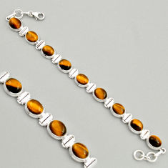 40.73cts natural brown tiger's eye 925 sterling silver tennis bracelet r4279