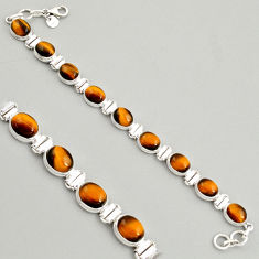 925 sterling silver 40.77cts natural brown tiger's eye tennis bracelet r4280