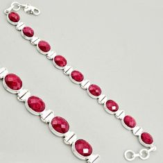 38.68cts natural red ruby 925 sterling silver tennis bracelet jewelry r4282