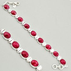 38.68cts natural red ruby 925 sterling silver tennis bracelet jewelry r4292
