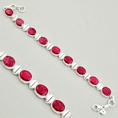 39.01cts natural red ruby 925 sterling silver tennis bracelet jewelry r4298
