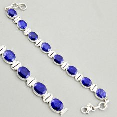 925 sterling silver 33.64cts natural blue sapphire tennis bracelet jewelry r4304