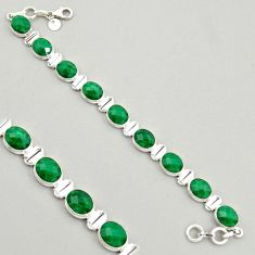 38.68cts natural green emerald 925 sterling silver tennis bracelet jewelry r4331