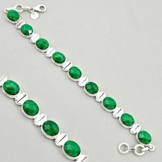 925 sterling silver 39.01cts natural green emerald tennis bracelet jewelry r4340