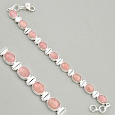 925 sterling silver 39.09cts natural pink morganite tennis bracelet r4351