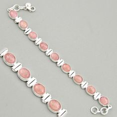 38.72cts natural pink morganite 925 sterling silver tennis bracelet r4356