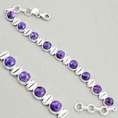 28.71cts natural purple charoite (siberian) 925 silver tennis bracelet r4361