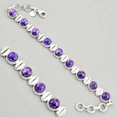 28.93cts natural purple charoite (siberian) 925 silver tennis bracelet r4362