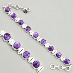 30.65cts natural purple charoite (siberian) 925 silver tennis bracelet r4363