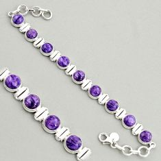 925 silver 28.71cts natural purple charoite (siberian) tennis bracelet r4364
