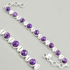 29.34cts natural purple charoite (siberian) 925 silver tennis bracelet r4365