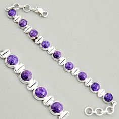 28.95cts natural purple charoite (siberian) 925 silver tennis bracelet r4366