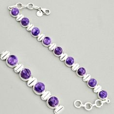 30.65cts natural purple charoite (siberian) 925 silver tennis bracelet r4367