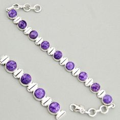 30.65cts natural purple charoite (siberian) 925 silver tennis bracelet r4368