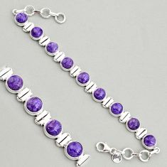 925 silver 28.71cts natural purple charoite (siberian) tennis bracelet r4369
