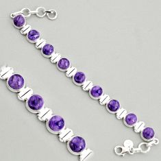 30.41cts natural purple charoite (siberian) 925 silver tennis bracelet r4370