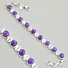 30.70cts natural purple charoite (siberian) 925 silver tennis bracelet r4371