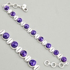 28.71cts natural purple charoite (siberian) 925 silver tennis bracelet r4372