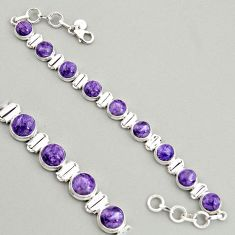 925 silver 28.93cts natural purple charoite (siberian) tennis bracelet r4373
