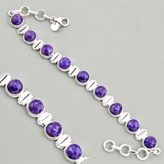 28.93cts natural purple charoite (siberian) 925 silver tennis bracelet r4375