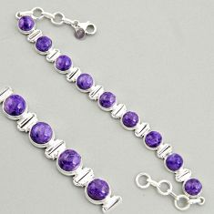 925 silver 31.04cts natural purple charoite (siberian) tennis bracelet r4376