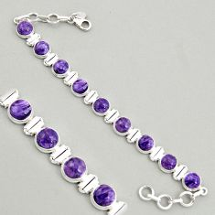 28.93cts natural purple charoite (siberian) 925 silver tennis bracelet r4378