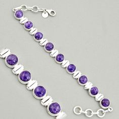 925 silver 29.00cts natural purple charoite (siberian) tennis bracelet r4379