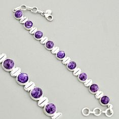 28.95cts natural purple charoite (siberian) 925 silver tennis bracelet r4380