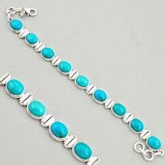38.27cts natural green kingman turquoise 925 silver tennis bracelet r4382