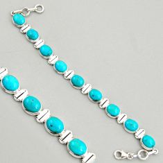 925 silver 37.86cts natural green kingman turquoise oval tennis bracelet r4384
