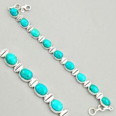 37.43cts natural green kingman turquoise 925 silver tennis bracelet r4385