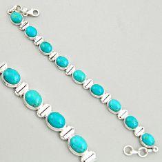 38.27cts natural green kingman turquoise 925 silver tennis bracelet r4386