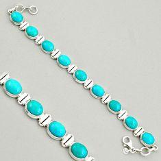 37.45cts natural green kingman turquoise 925 silver tennis bracelet r4389