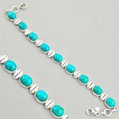 38.31cts natural green kingman turquoise 925 silver tennis bracelet r4392