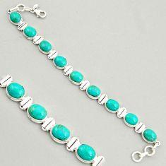 925 silver 37.86cts natural green kingman turquoise tennis bracelet r4395