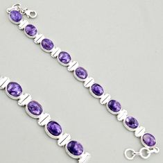38.68cts natural purple charoite (siberian) 925 silver tennis bracelet r4397
